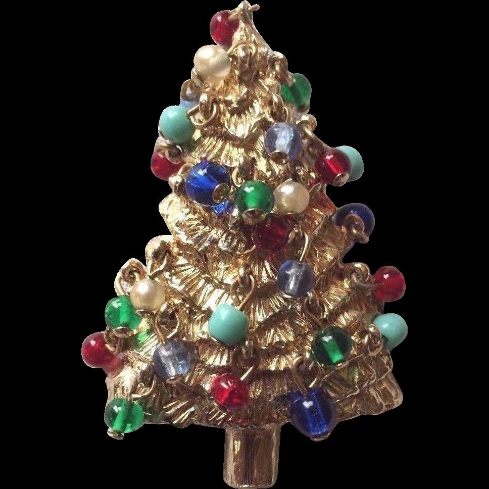 Rare Hattie Carnegie Christmas Tree Brooch With Dangling