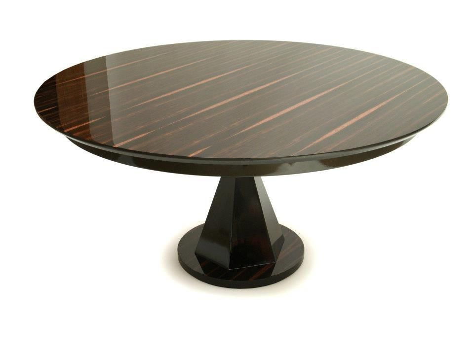 Stunning Round Macassar Ebony Pedestal Dining Table Dining