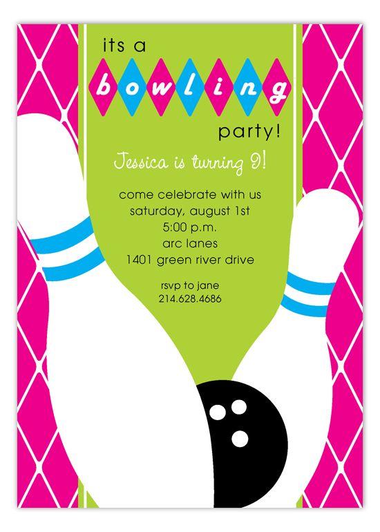 Pink Diamond Bowling Invitation  Bowling Bowling Party And