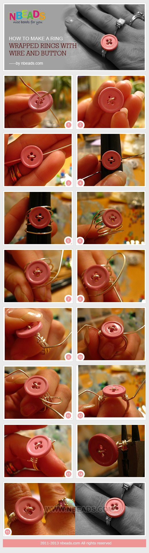 how to make a ring - wrapped rings with wire and button (I'd wrap through all the holes in the button)