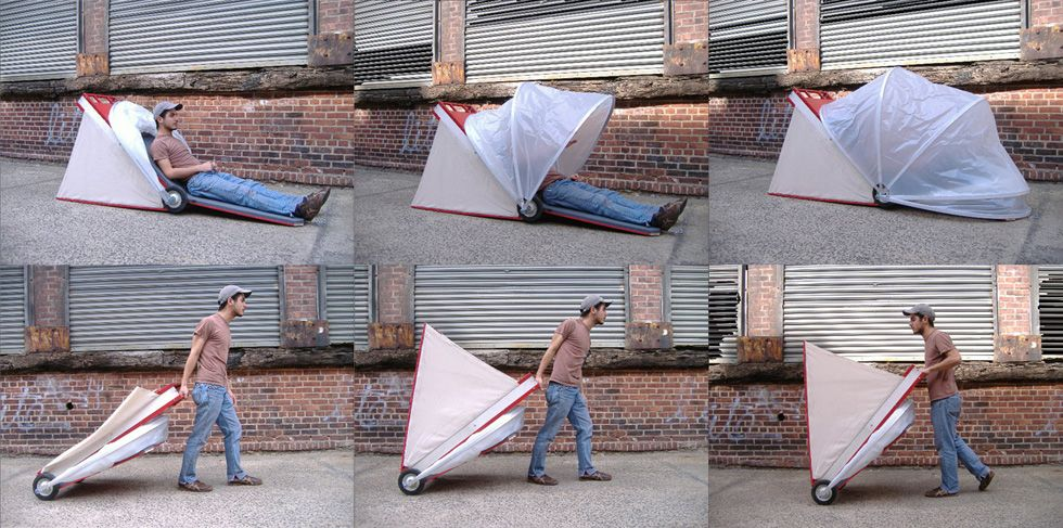 Portable Collapsing Shelter : Collapsible urban shelters — the pop up city camping