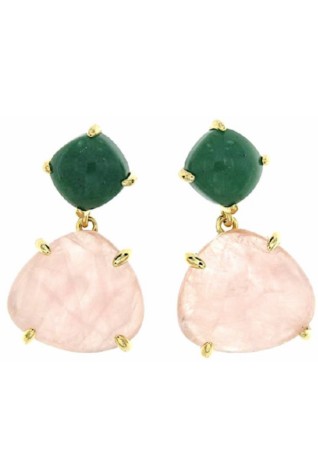 Coolook Sarin earrings with aventurine quartz and pink quartz stones