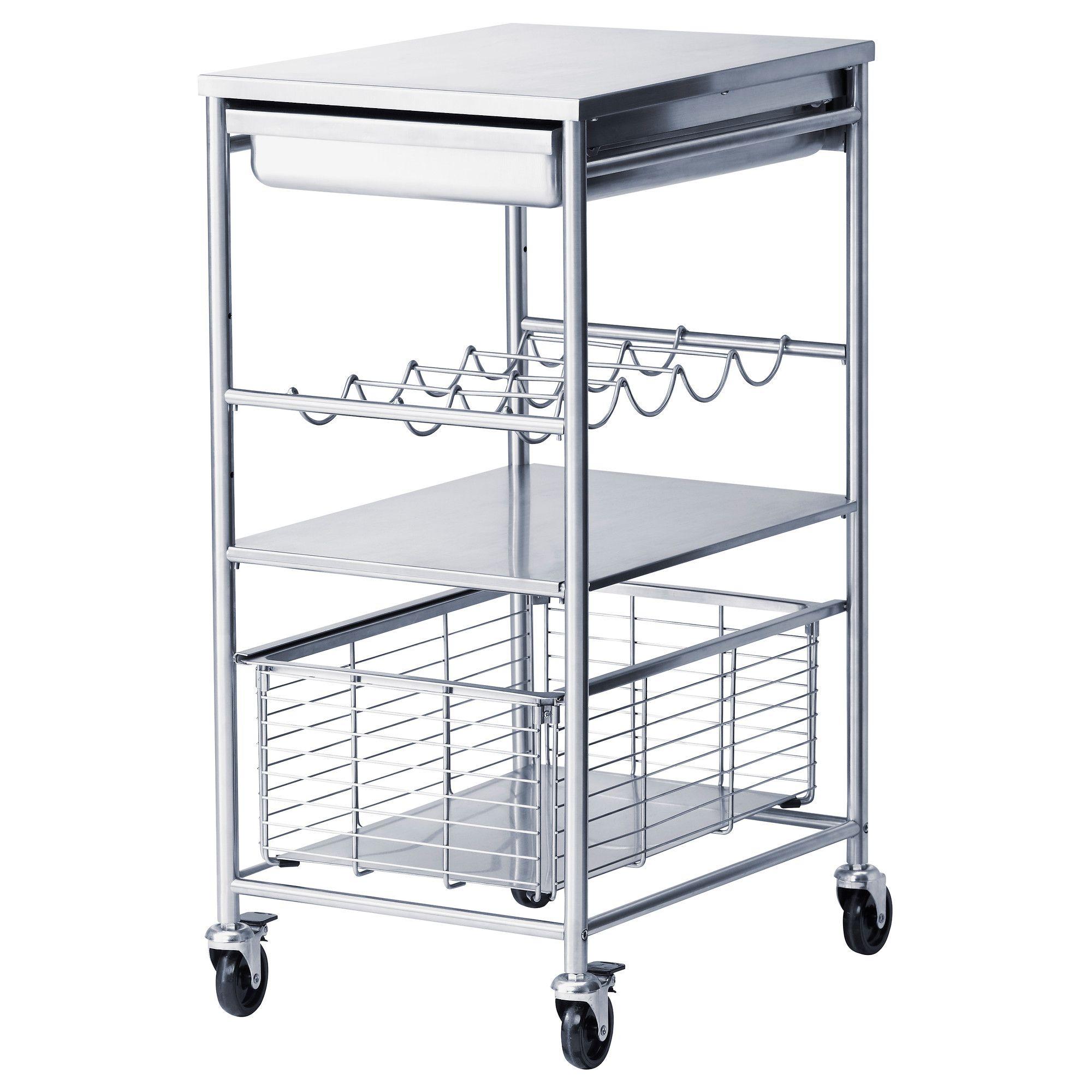Ikea Kitchen Island Stainless Steel grundtal tarjoiluvaunu/apupöytä, ruostumaton teräs | kitchen carts