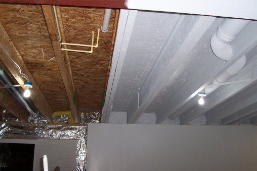 How To Paint A Basement Ceiling With Exposed Joists For An Industrial Look Basement Remodeling Basement Makeover Basement Renovations