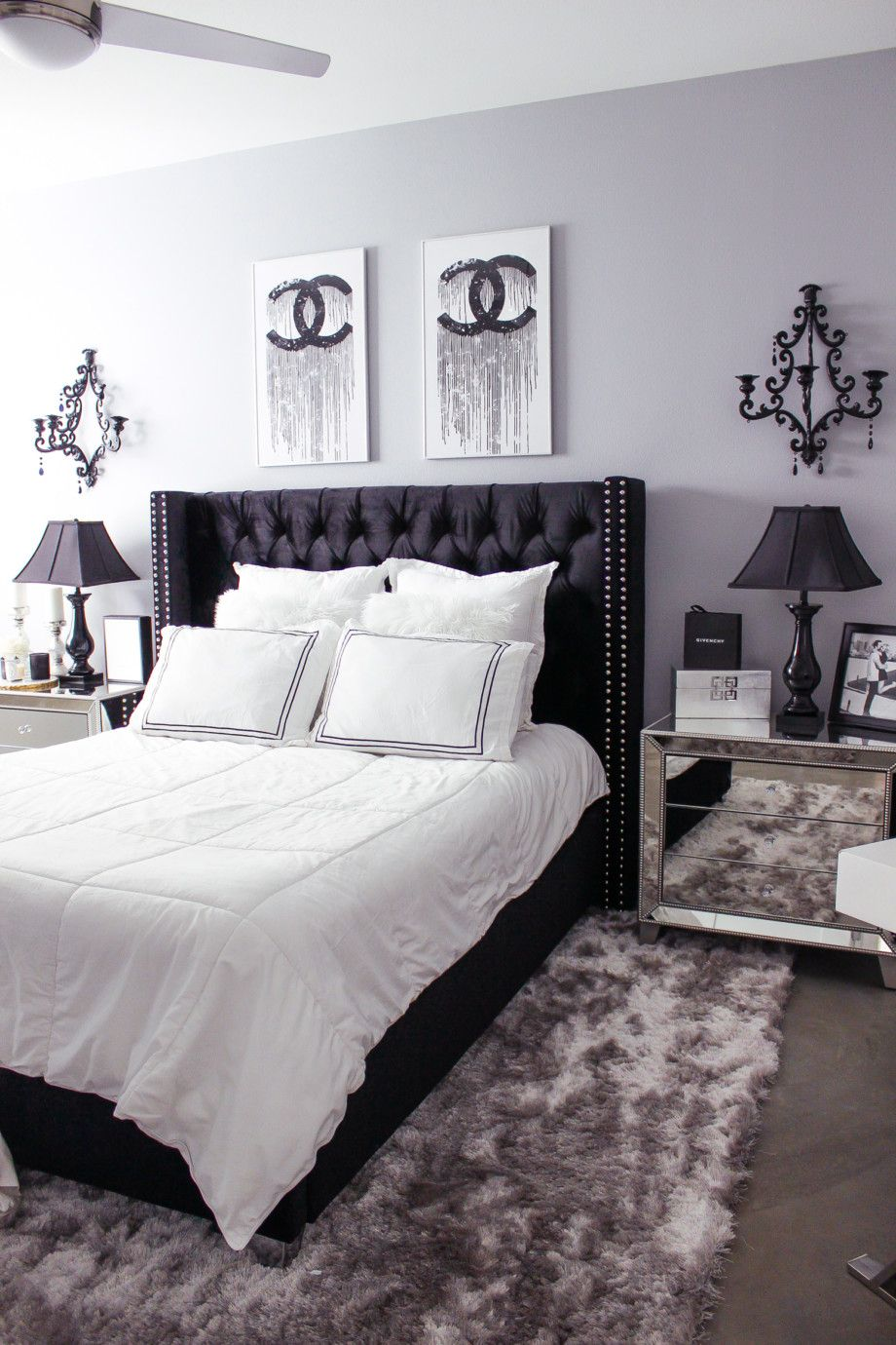 Black white bedroom decor chic glam bedroom decor blondie in the city hayley larue bedroom decor chanel decor