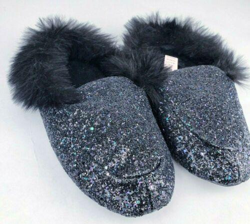Glam Slippers Bling Black Fur Women