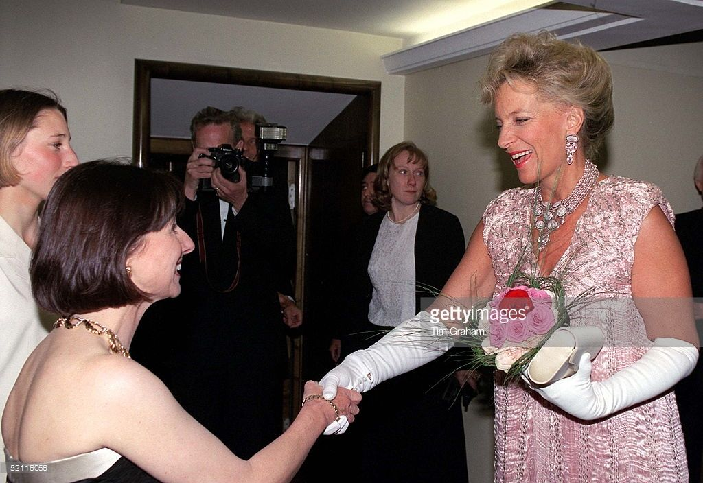 Virginia Whybrow Being Presented To Princess Michael Of Kent At The Viennese Ball Hosted By The Lord Mayor And Lady Mayoress Of London At The Savoy Hotel In London. Princess Wearing Dress Designed By Charles And Patricia Lester