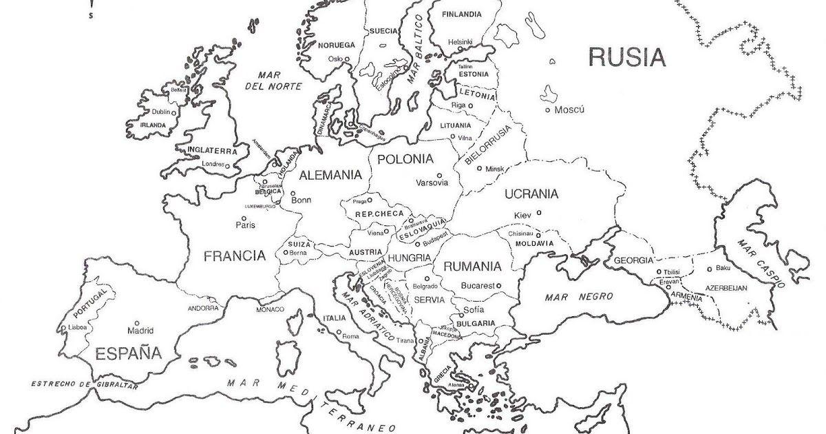 Mapa de Europa para imprimir y colorear. Aprende los nombres de los ...