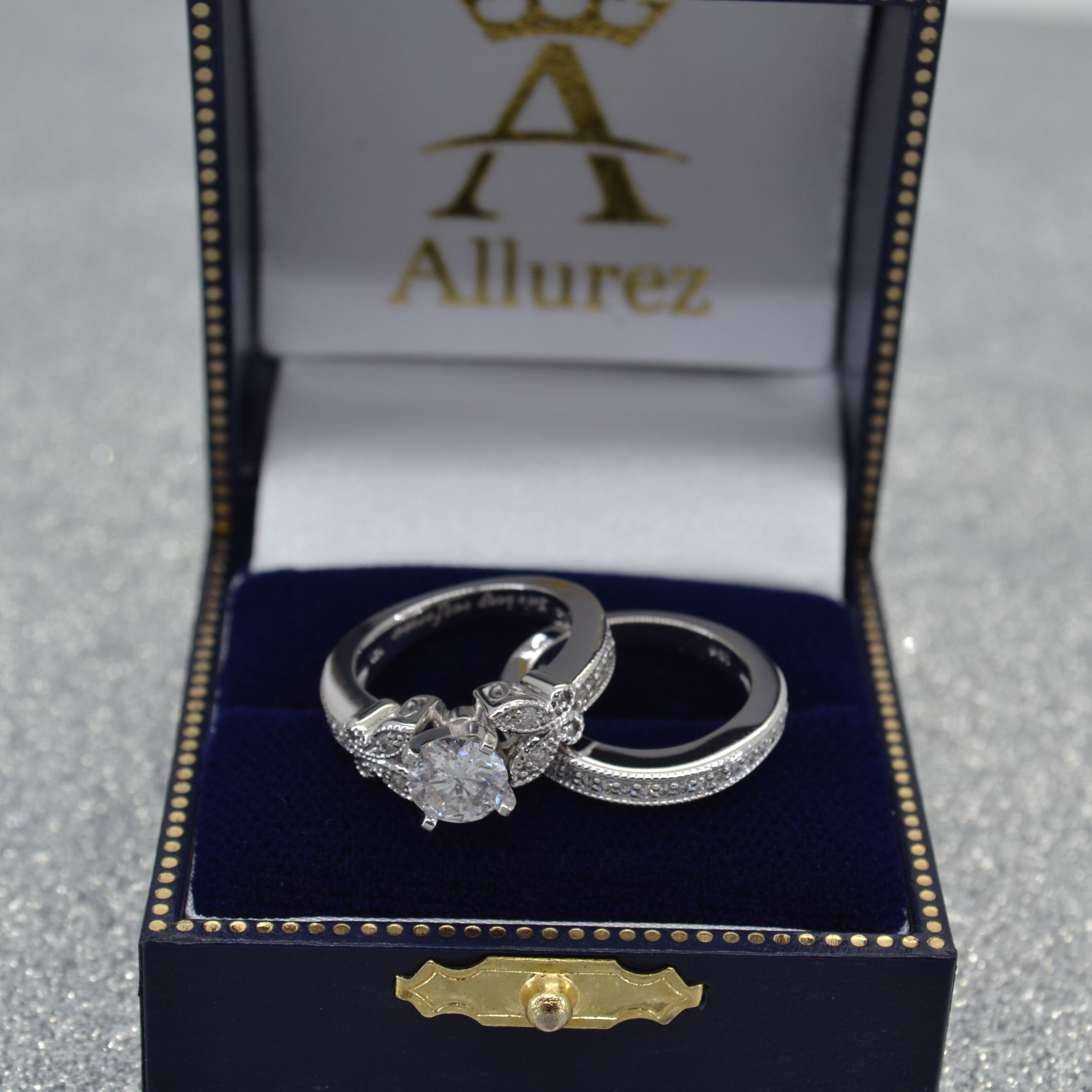 Butterfly Engagement Ring & Wedding Band Bridal Set 14k