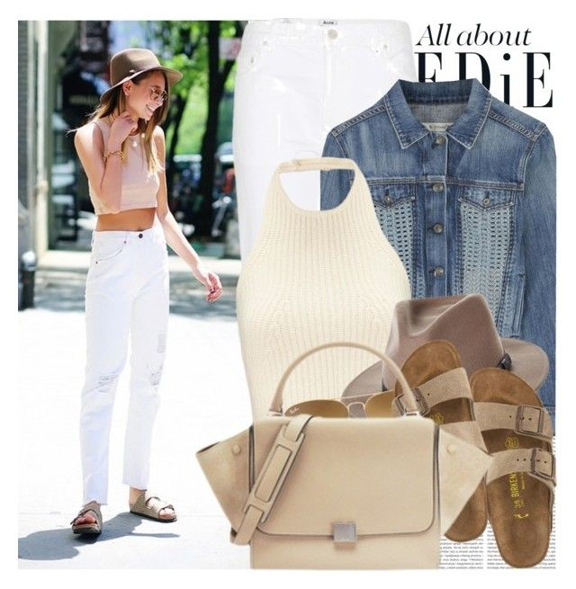 """""""1498. Blogger Style: We Wore What"""" by chocolatepumma ❤ liked on Polyvore featuring Oris, Acne Studios, rag & bone/JEAN, Brixton, Birkenstock, Ray-Ban, GetTheLook, StreetStyle, denim and hat"""