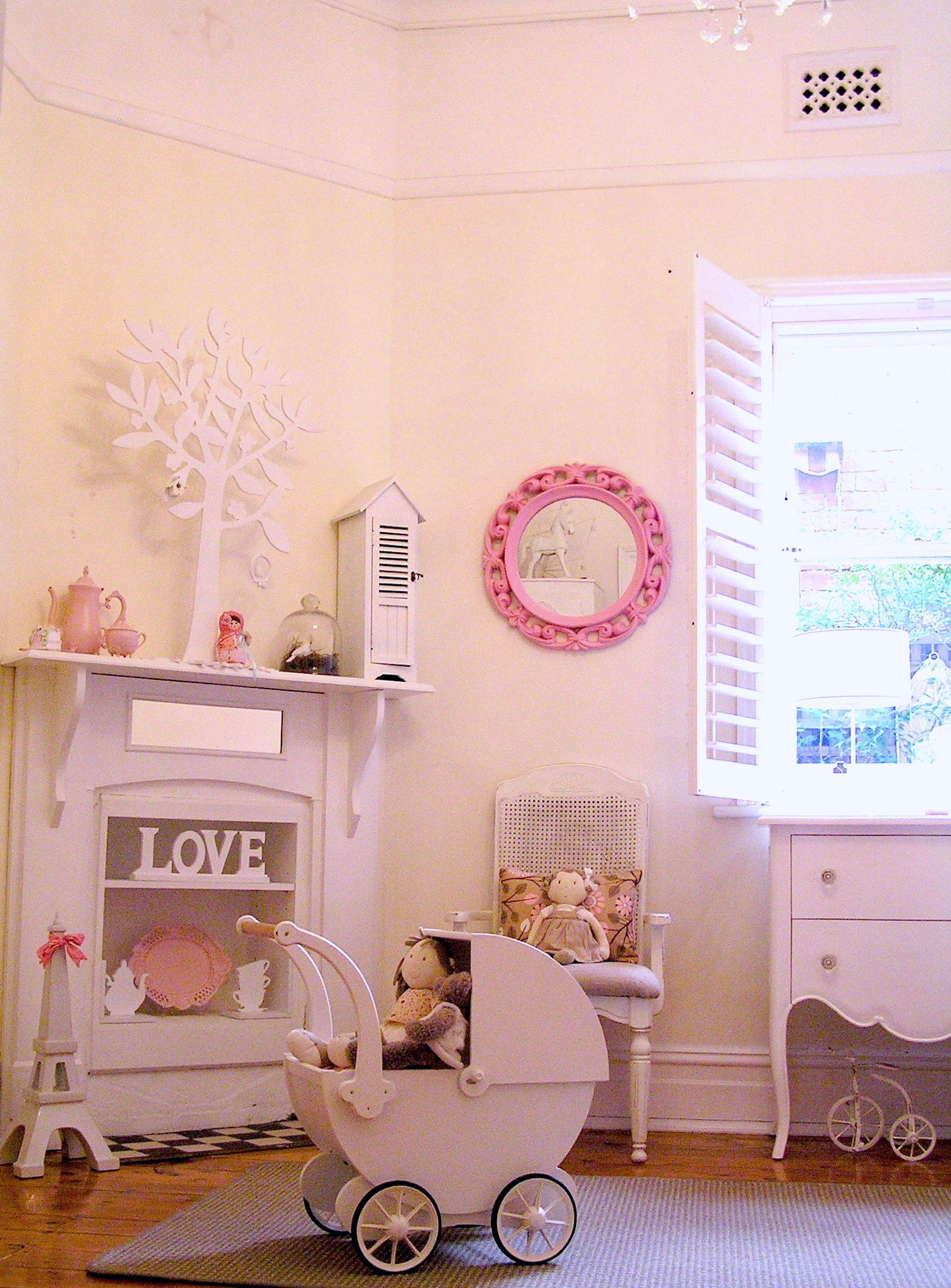 girls shabby chic french bedroom room vintage pastel pink pram shutters fireplace baby girls. Black Bedroom Furniture Sets. Home Design Ideas