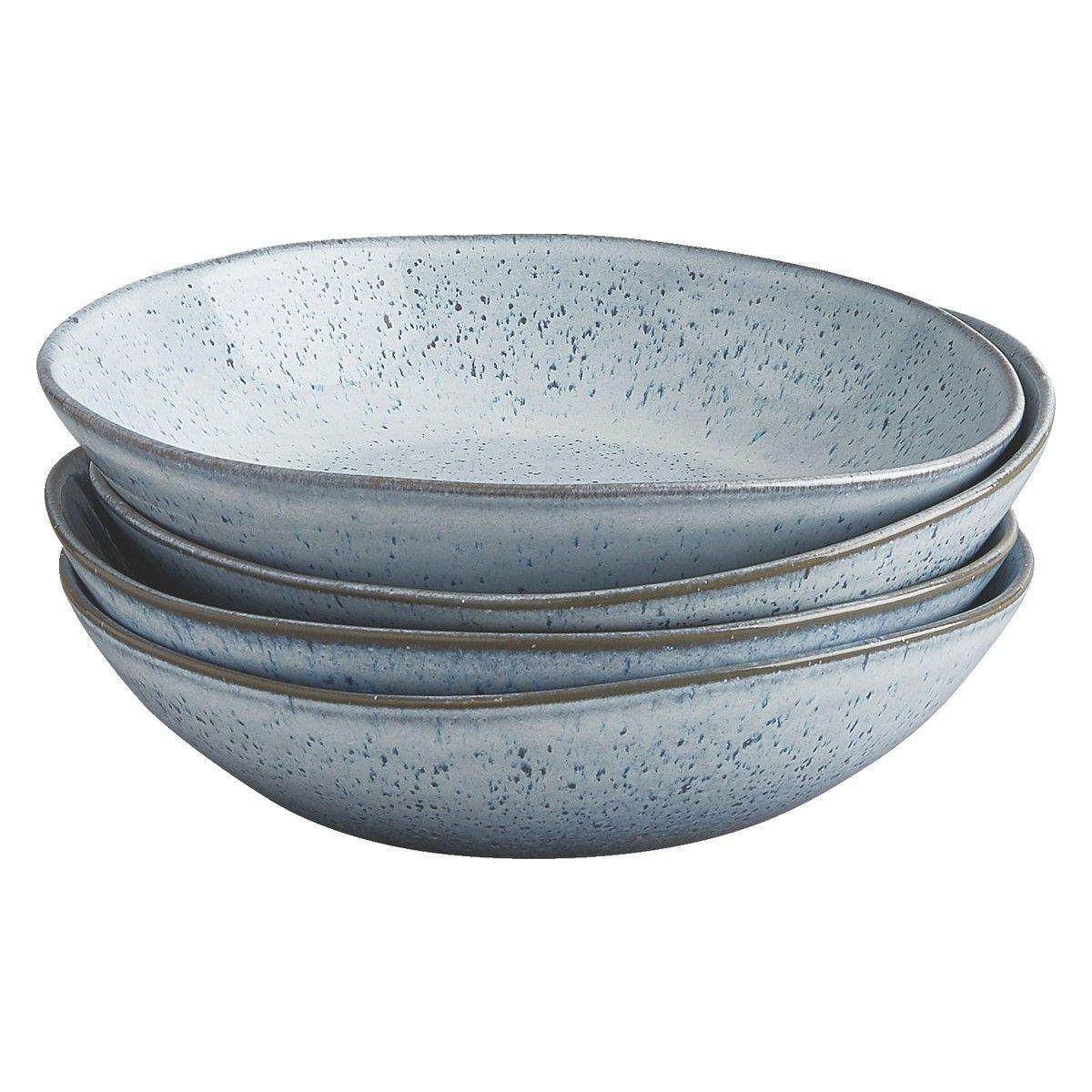 Olmo Light Blue Light Blue Speckled Set Of 4 Pasta Bowl
