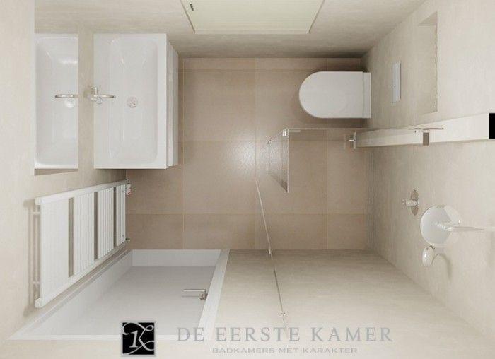 De eerste kamer een kleine badkamer met een mooie wandafwerking van