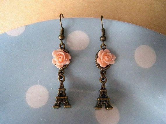 Paris Rose Earrings Eiffel Tower Earrings by Blissnbling on Etsy, $6.90