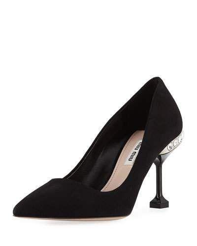 7f81a793132b Suede Jeweled-Heel Pumps Black | Products | Pumps heels, Heels ...
