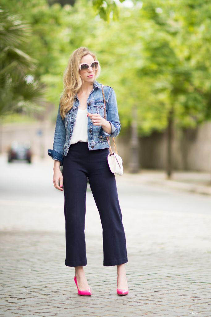 f5dd497cc0788e Neon Pop: Denim jacket, Navy culottes & Pink pumps | Culotte Pants ...