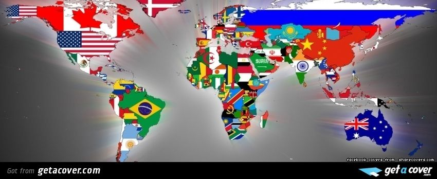 A stunning flag world facebook cover for your fb timeline choose world map flags wallpaper gumiabroncs Image collections