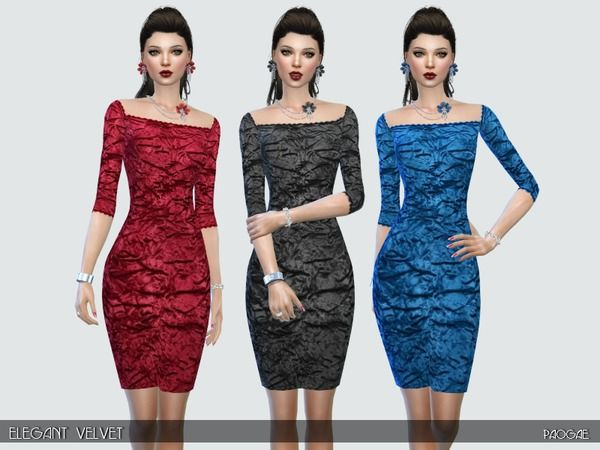 The Sims Resource: Elegant velvet dress by Paogae • Sims 4 Downloads
