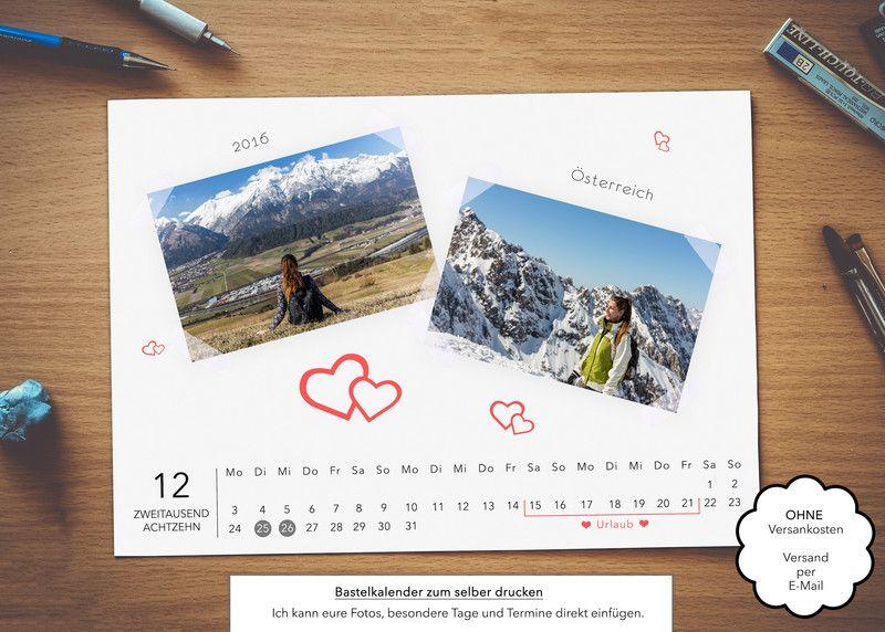 bastelkalender fotokalender 2018 din a4 quer. Black Bedroom Furniture Sets. Home Design Ideas