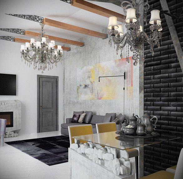Kleine Wohnung Modern Einrichten Mit Ziegelwand Schwarz Und Kleine Esstisch  Glas Mit Weißen Esstischstühlen_coole Deckengestaltung Mit Deckenbalken Aus  Holz ...