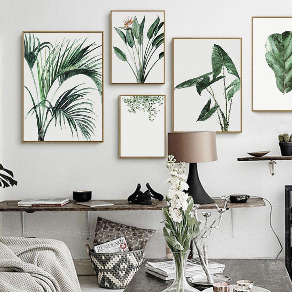 line Shop Aquarell Anlage Grüne Blätter Leinwand Malerei