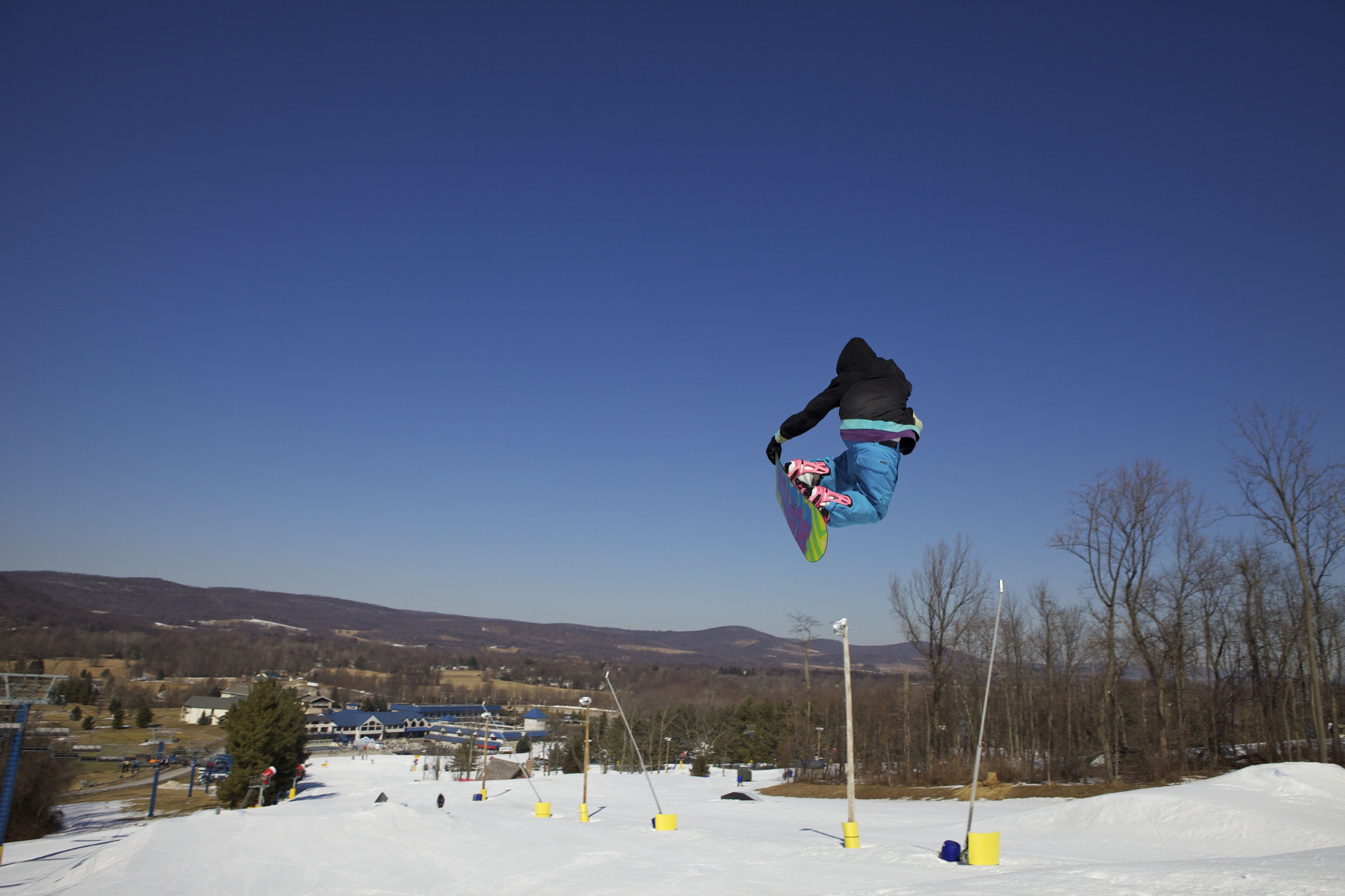 Liberty Has All Kinds Of Rails And Boxes In The Terrain Park Mountain Resort Liberty Mountain Skiing Snowboarding