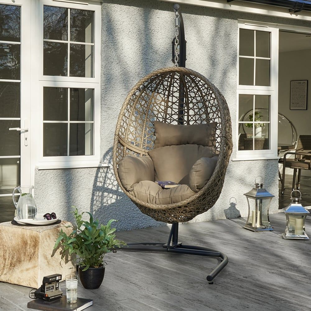 wallace sacks hove hanging rattan pod chair with stand wallace sacks from wallace sacks uk - Garden Furniture Pod