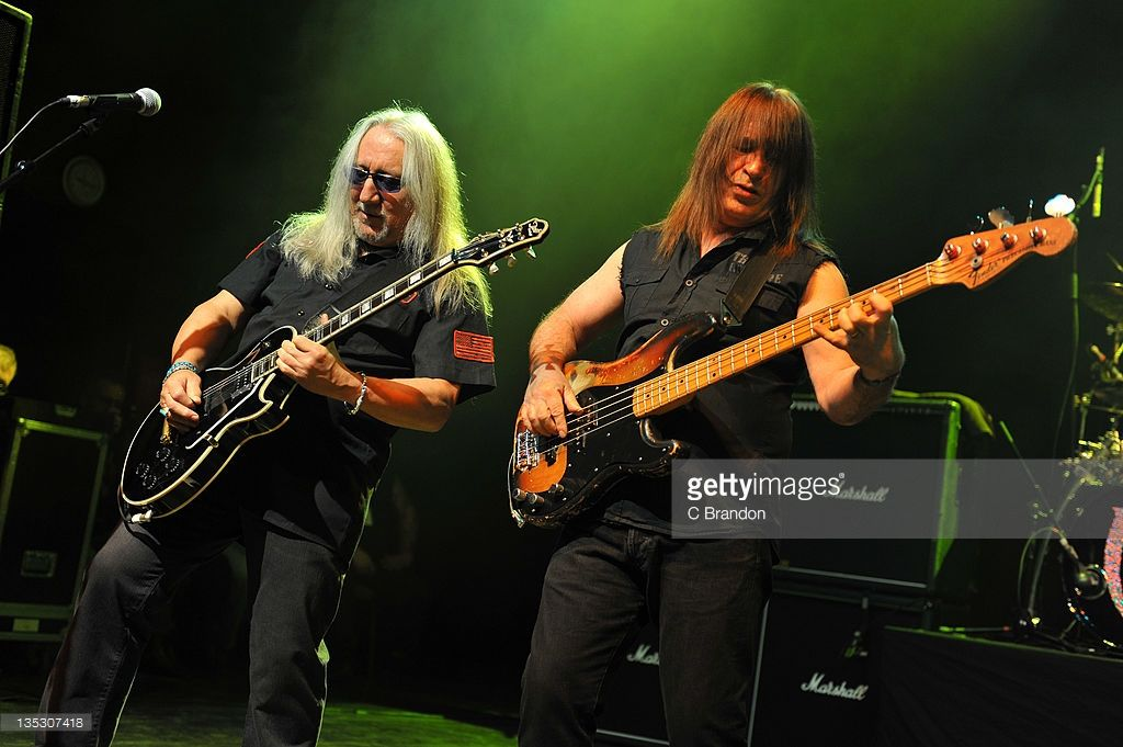 Mick Box and Trevor Bolder of Uriah Heep performs on stage at Shepherds Bush Empire on December 8, 2011 in London, United Kingdom.