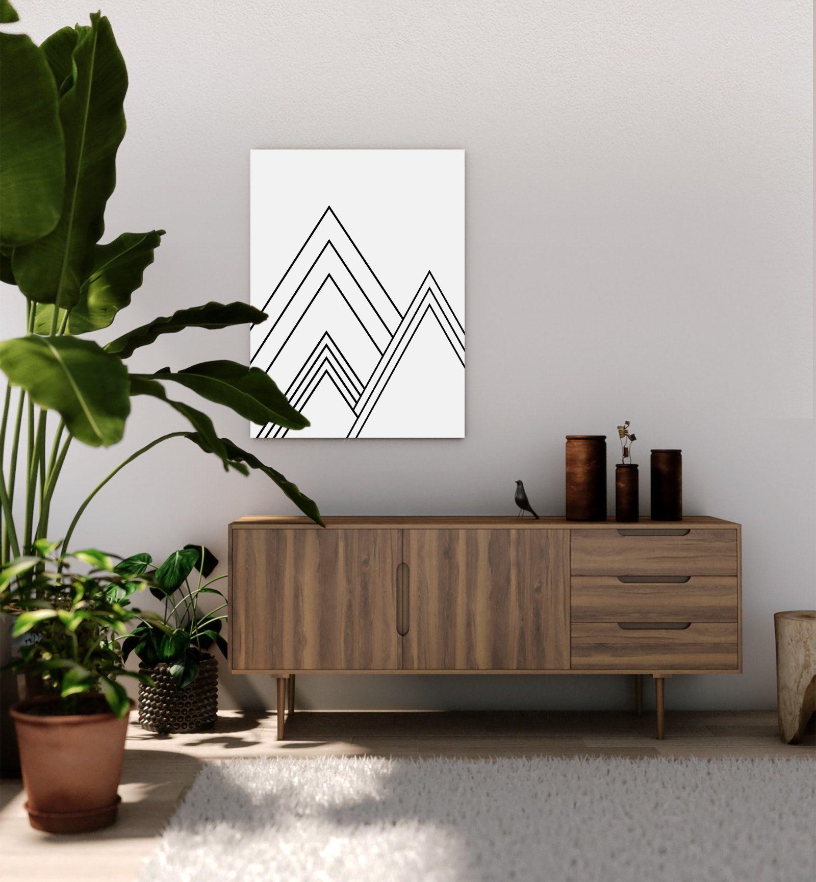 Mountain geometric line large art print black and white mid
