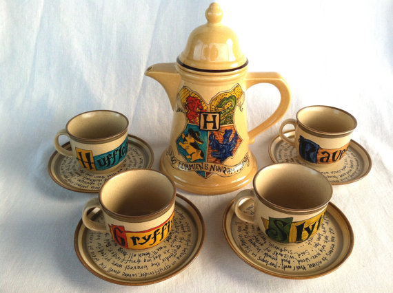 No tea quite like nerdy tea. Harry Potter Hogwarts Crest Tea Set - J.K. Rowling Quote with Gryffindor, Slytherin, Hufflepuff, and Ravenclaw House Teacups and Saucers.