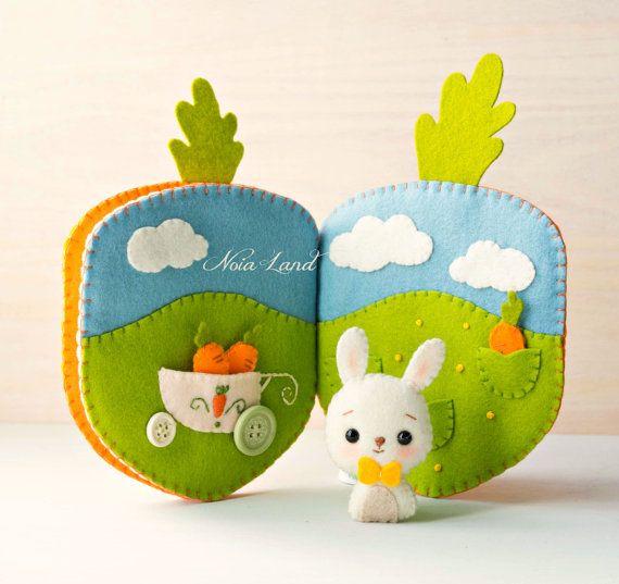 Carrot book. Bunny orchard activity book | Spielbücher, Filz und ...