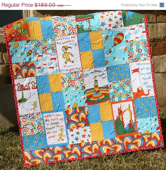 Dr Seuss Quilt Made With Oh The Places Youll Go Fabric By Robert