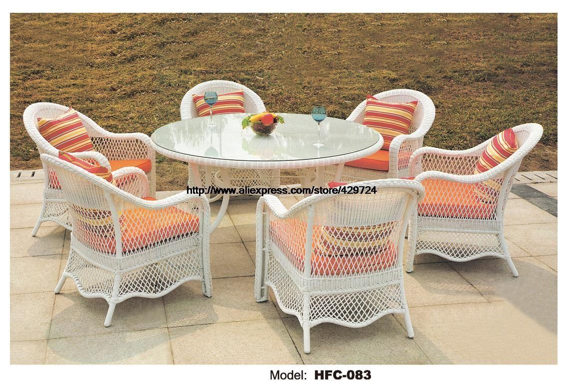 Modern White Rattan Garden Set Large Size Round Table 1 2m 6 Chiars Outdoor Furniture Set Garde Wicker Dining Chairs Rattan Outdoor Furniture Outdoor Furniture [ 765 x 1137 Pixel ]