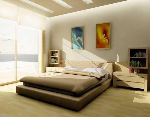 Se utilizan muebles de estructuras sencillas. La cama es el centro ...