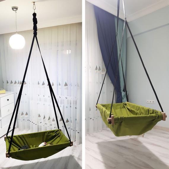 Wooden swing hammock nursery baby or toddler for outdoor