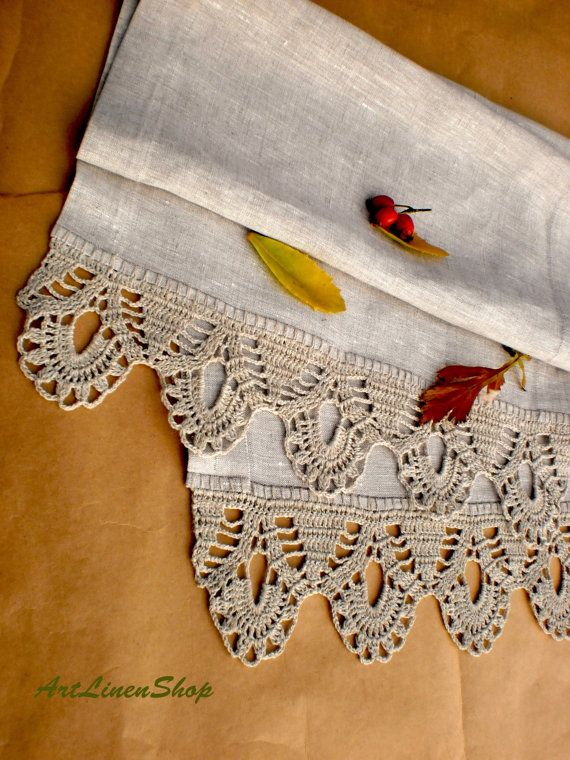 Wedding table runner Linen table runners Crochet tablecloth Linen tablecloth Wedding linens Gray table runner Wedding tablecloth