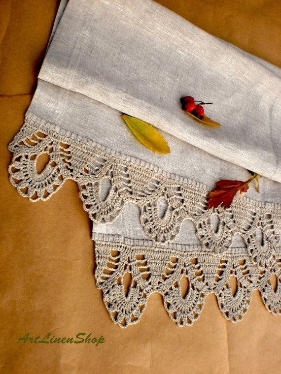 Wedding table runner Linen table runners Crochet tablecloth Linen tablecloth Wedding linens Gray table runner Wedding tablecloth