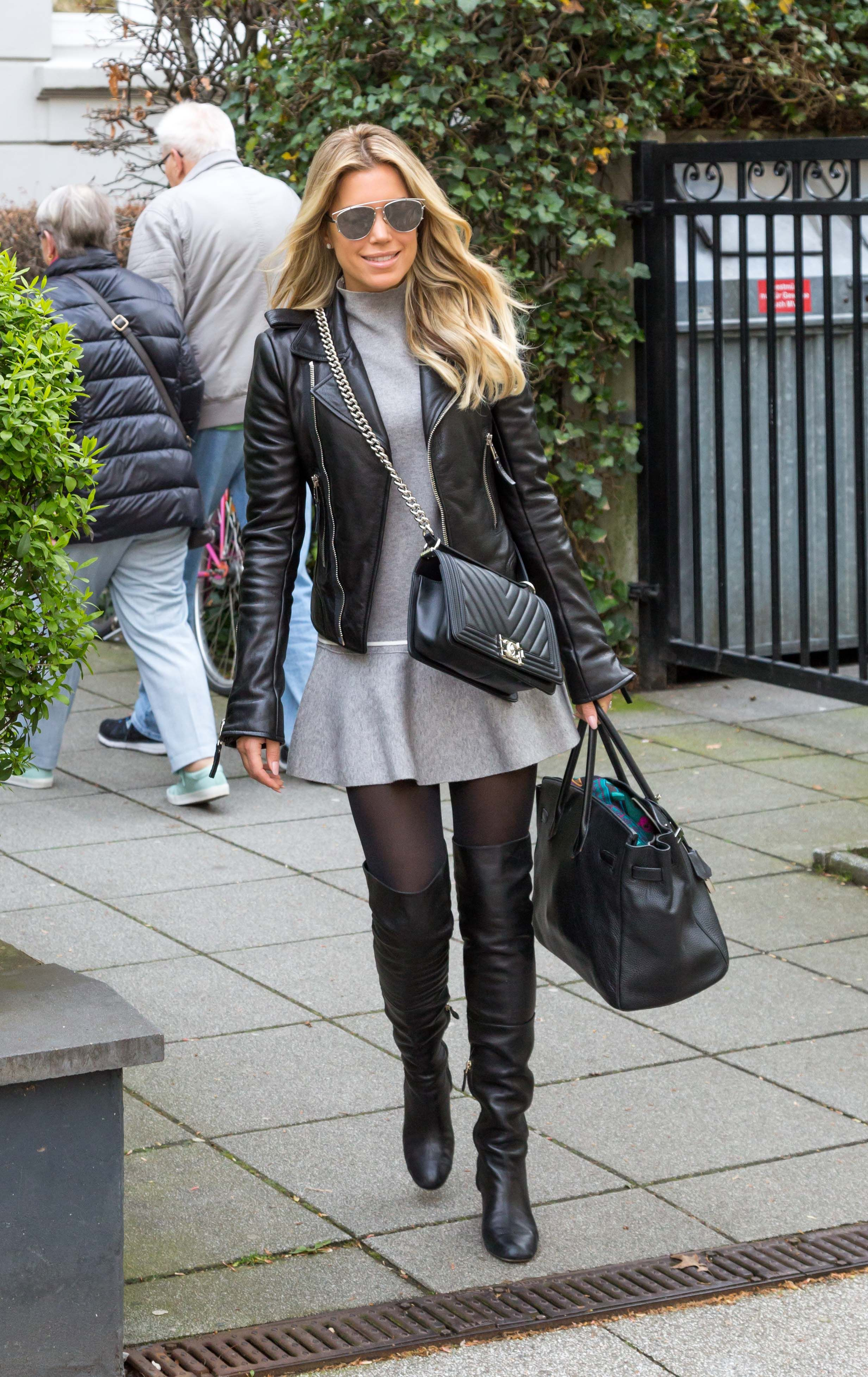 42854f45f41 Sylvie Meis wearing black OTK boots combined with black pantyhose and a  short minidress Black Thigh