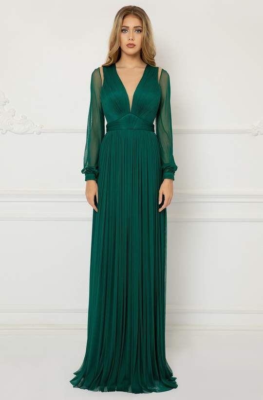 Cristallini - SKA1027 Long Sleeve Shirr-Adorned Tulle Dress – Couture Candy