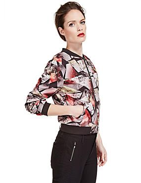 Multi Speziale Abstract Print Bomber Jacket