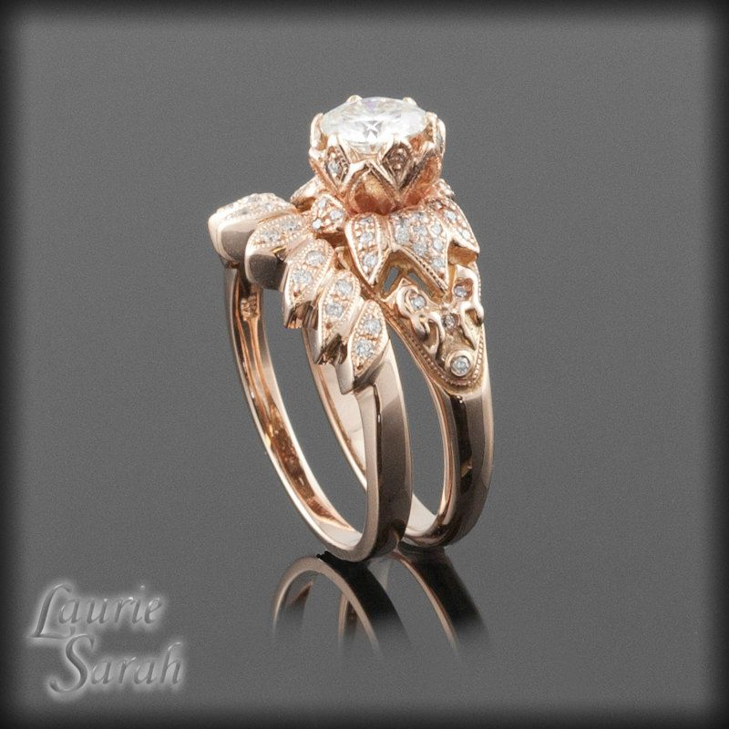 Moissanite Lotus Flower Engagement Ring And Wedding Set Payment Plan For Singee 4th