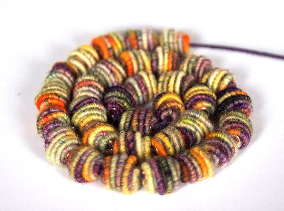 Small Handmade Fabric Textile Beads by jimenastreasures