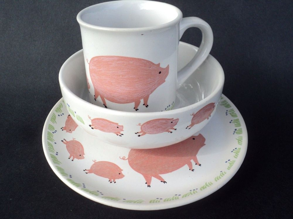 Child s Porcelain Pig Dinnerware Set 3 Piece Plate Bowl Cup | eBay & Child s Porcelain Pig Dinnerware Set 3 Piece Plate Bowl Cup | eBay ...