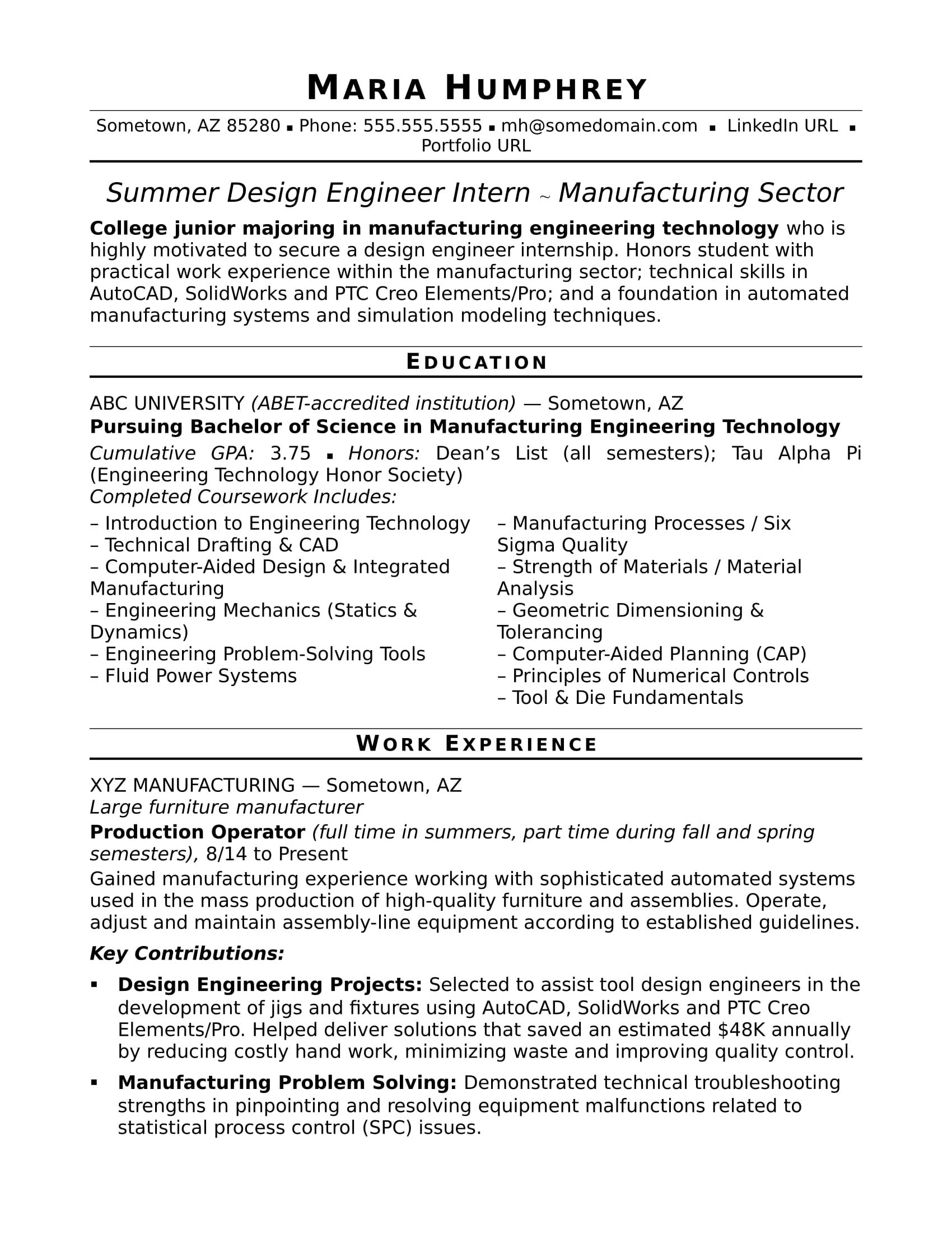 Sample Resume for an EntryLevel Design Engineer Monster