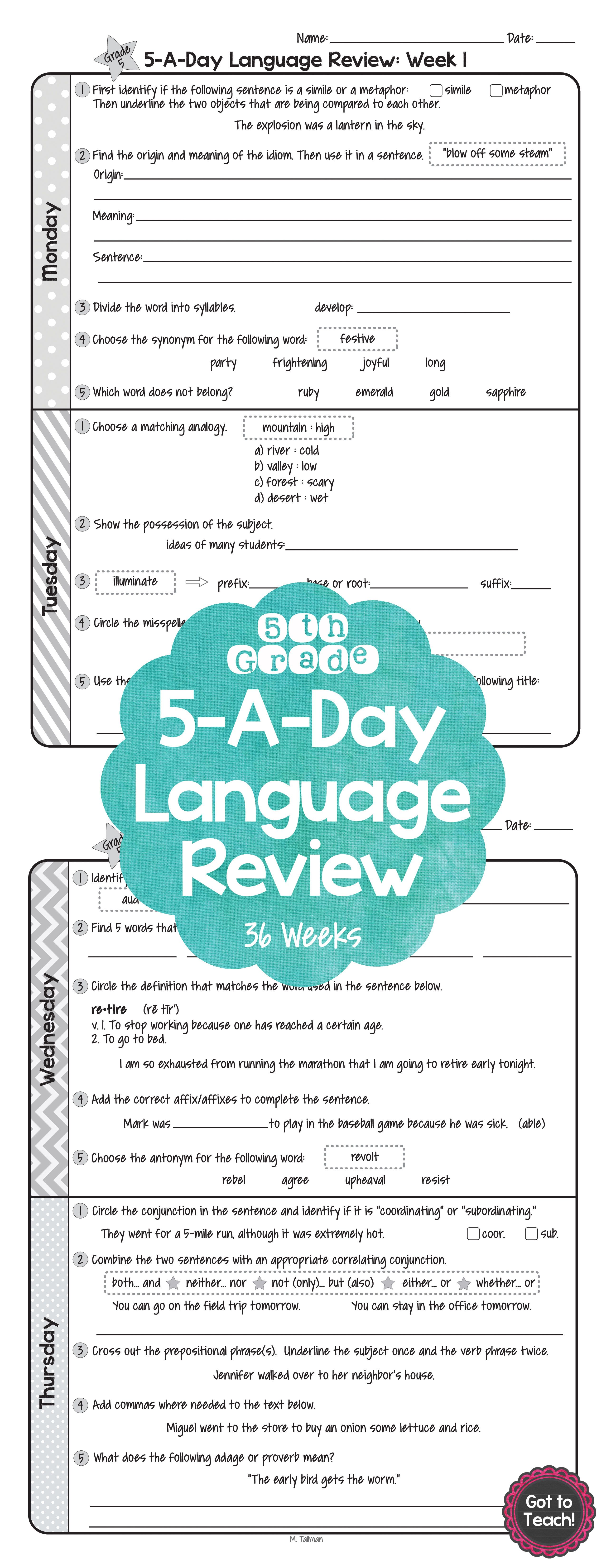 5th Grade Daily Language Spiral Review Morning Work