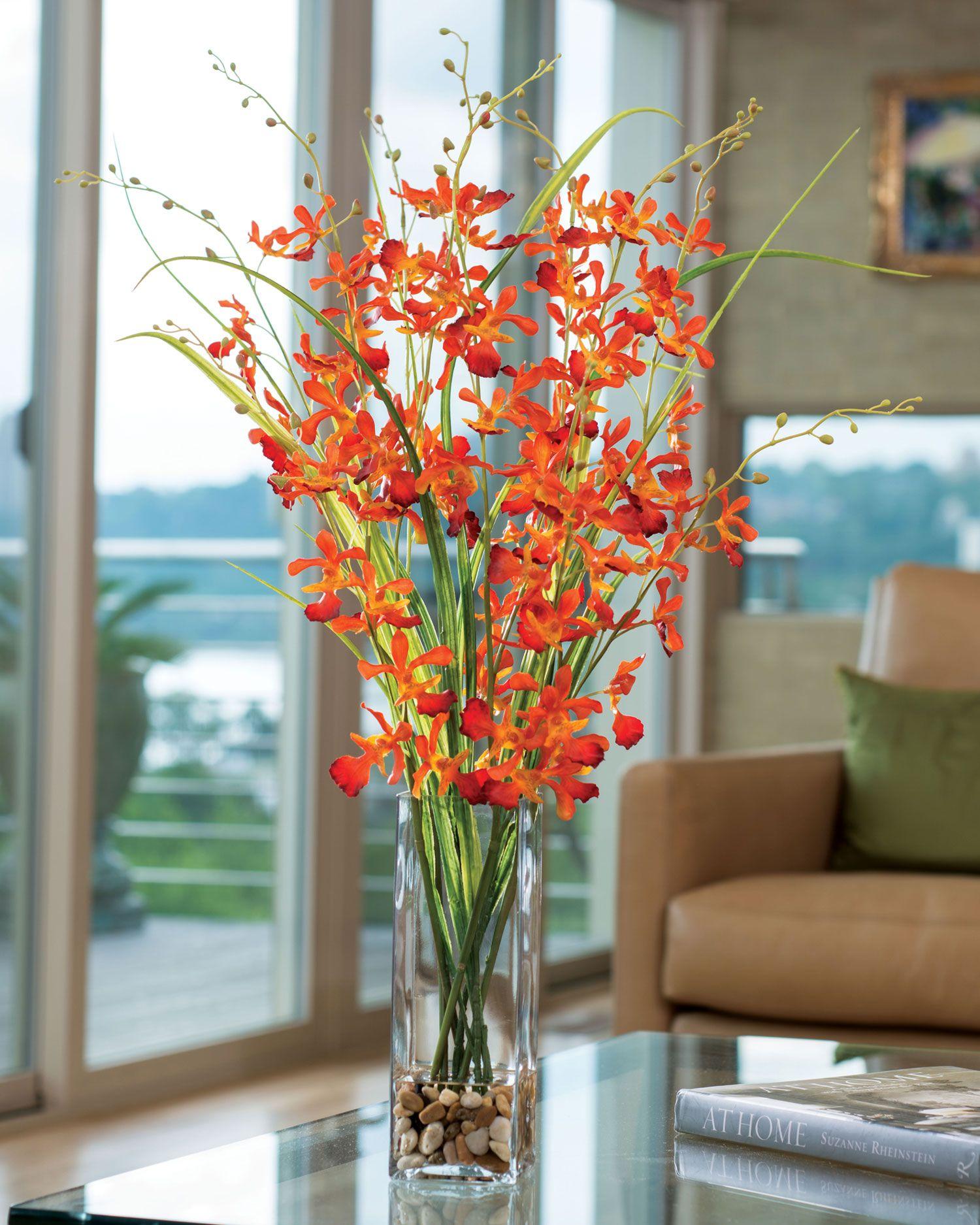 Dancing Orchid Grassartificial Flower Arrangement Tall Orange
