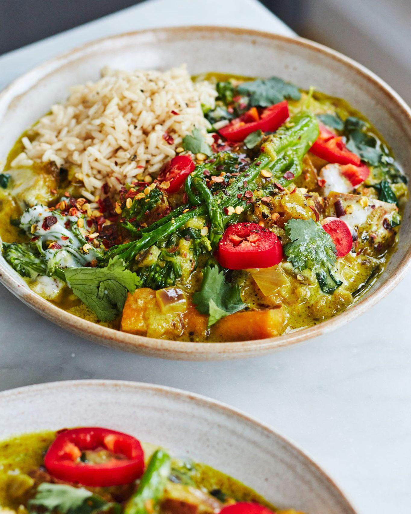 Vegan Aubergine Sweet Potato And Broccoli Curry In 2021 Vegetarian Recipes Deliciously Ella Recipes Broccoli Curry