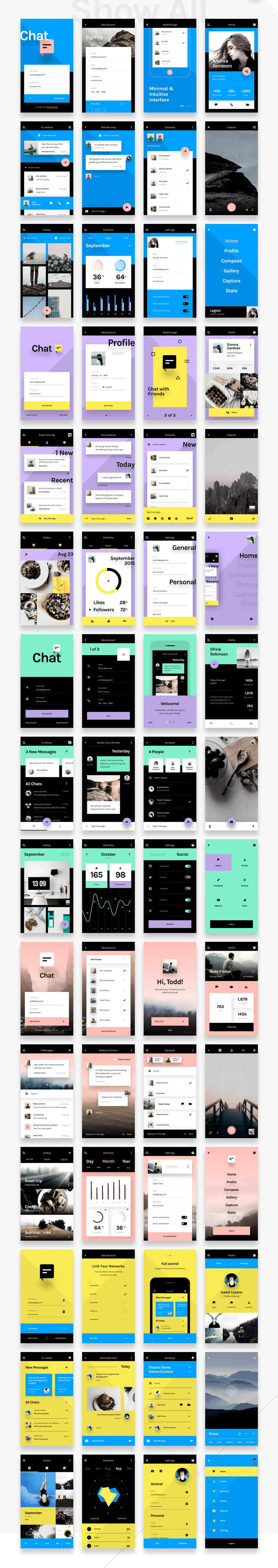 Chat Ui Kit A beautifully minimal and simple freebie UI kit, which includes just an incredible amount of ui elements: 60 templates, 12 categories and 80 UI elements – optimized and retina–ready