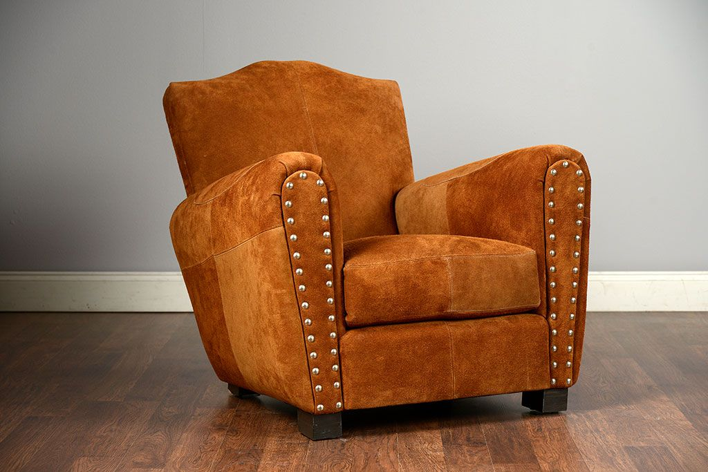 Wellington Upholstered Club Chair In Cocoa Suede With Mustache Back COM  Available Other Fabrics Available Seat