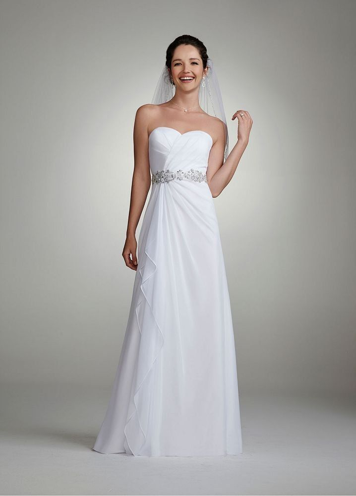 David 39 s bridal wedding dress chiffon gown for Sheath wedding dress with beading and side drape
